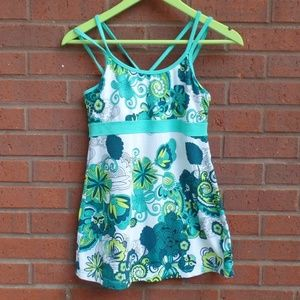 Prana Teal Floral Strappy Athletic Tank Top S